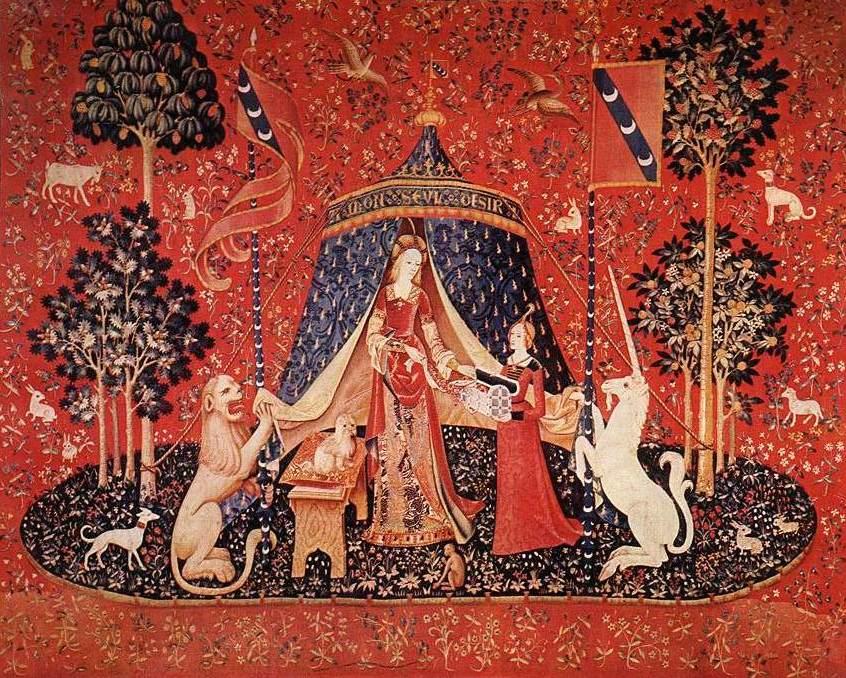 Photo de la sixième tapisserie de la Dame à la Licorne intitulée